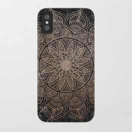Mandala - rose gold and black marble 4 iPhone Case