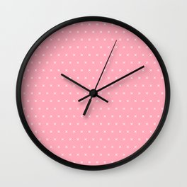 Pink and white cross sign pattern Wall Clock