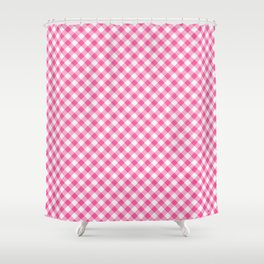 Pink Roses in Anzures 1 Gingham 1 Shower Curtain