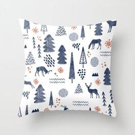 Deer Christmas forest Throw Pillow