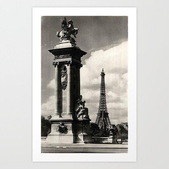 Alexander III Bridge and Eiffel Tower in Paris Art Print