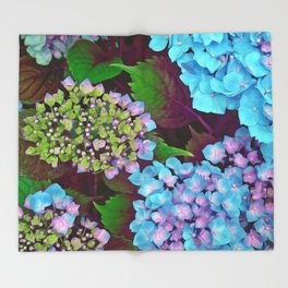 Hydrangea Pink and Blue Throw Blanket
