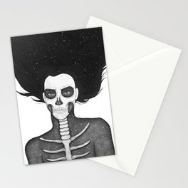 Black and White Galaxy Skull Girl Stationery Cards