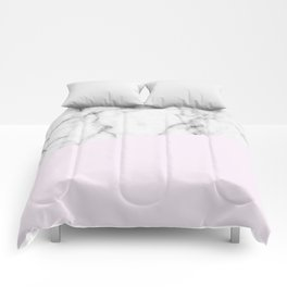 Real White Marble Half Baby Pink Modern Abstract Shapes Comforters