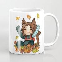 bucky Mugs featuring fall - bucky by noCek