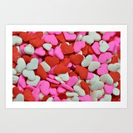Pink and red candy hearts Art Print