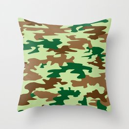 Camouflage Print Pattern - Greens & Browns Throw Pillow