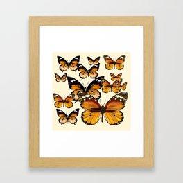 COFFEE & CREAM COLORED BROWN BUTTERFLIES Framed Art Print
