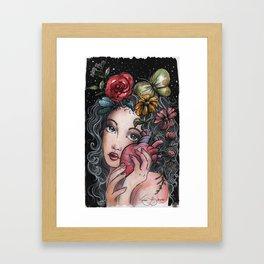 Heart garden Brunette Framed Art Print