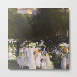 Millionaire's Row, Ladies dressed in white in hats and umbrellas, June Day by George Wesley Bellows Metal Print