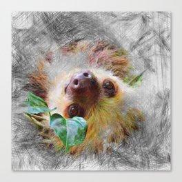 Artistic Animal Sloth Canvas Print