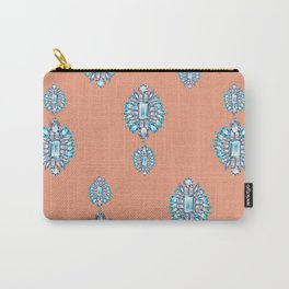 Jewelbox: Aquamarine Brooch on Coral Spice Carry-All Pouch