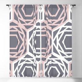 Hex Geo 05 - Geometric Triangle Hexagons Pastel Grey Blackout Curtain