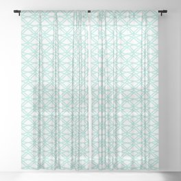 SPEARMINT pale mint green art deco pattern on white background Sheer Curtain