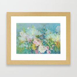 Abstract pastel spring floral Framed Art Print
