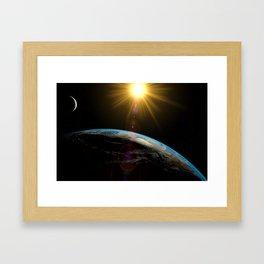 earth sun and moon Framed Art Print