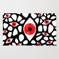 evil eye Area & Throw Rugs featuring Evil Eye by Denise R.