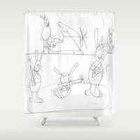 rabbits Shower Curtains featuring Musical Rabbits by Ryan van Gogh