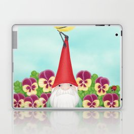gnome with magnolia warbler and pansies Laptop & iPad Skin