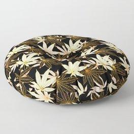 Cannabis Leaf (Golden Calico) - Black Floor Pillow