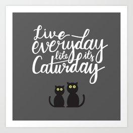 Live everyday like it's Caturday Art Print