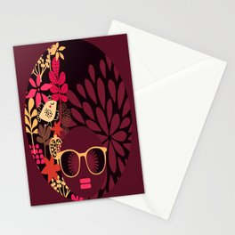 Afro Diva : Sophisticated Lady Deep Pink & Burgundy Stationery Cards