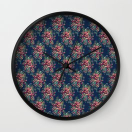 Vintage Roses on Blue Floral Pattern Wall Clock