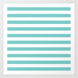 Horizontal Aqua Stripes Art Print