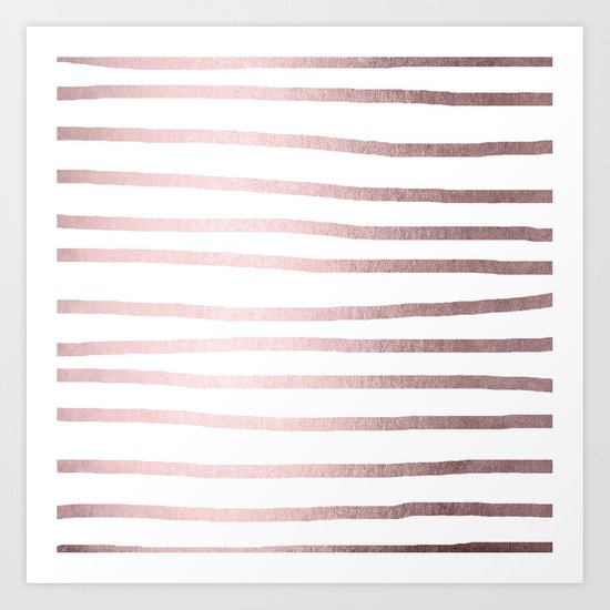 Simply Drawn Stripes Rose Gold Palace Art Print