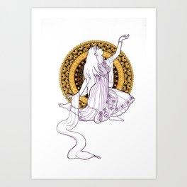 Anjaneyasana Mandala Art Print