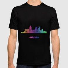 Rainbow Atlanta skyline Black Mens Fitted Tee MEDIUM