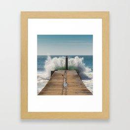 Crashing waves on a jetty Framed Art Print