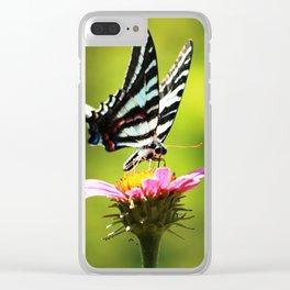 """Zebra Swallowtail """"Breakfast in the Garden"""" Clear iPhone Case"""