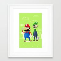 luigi Framed Art Prints featuring Mario & Luigi by Jorge De la Paz