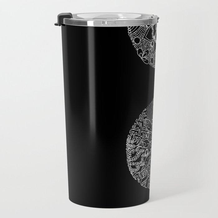 Patterned Semicolon: White on Black Travel Mug