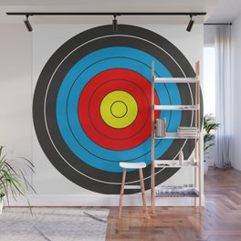 Yellow, red, blue, black target on white background Wall Mural