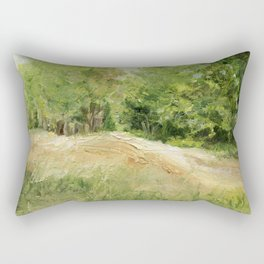 Dirt Road to Trees Oil Painting Rectangular Pillow