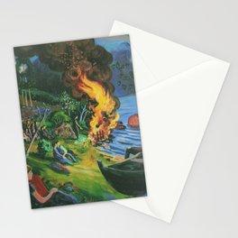 St. Hansbal Midsummer Eve Bonfire on Alpine Lake landscape painting by Nikolai Astrup Stationery Cards