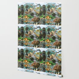 Jurassic dinosaurs drink in the river Wallpaper
