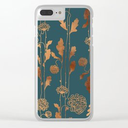 Art Deco Copper Flowers Clear iPhone Case