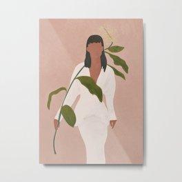 Elegant Lady holding a Flower Metal Print