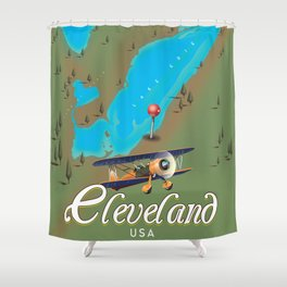 Cleveland,Ohio Travel poster art print Shower Curtain