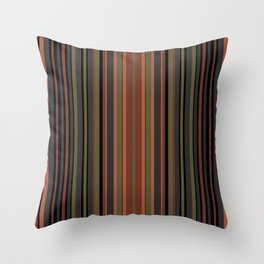 Multi-colored striped pattern in green , black and brown tones . Throw Pillow
