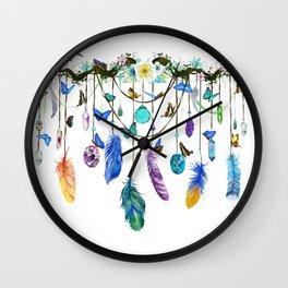 Folkestone Feather, Crystal And Butterfly Spirit Gazer Wall Clock