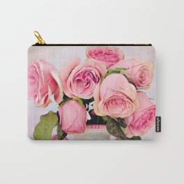 Pink Roses in a Vase Carry-All Pouch