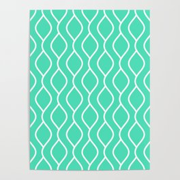 Menthol green and white curved lines pattern Poster