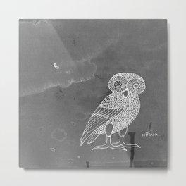 ATHENA'S OWL IN GREY BACKGROUND  Metal Print