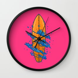 Surf Board with the waves Wall Clock