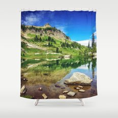 Clear Mountain Lake Reflections Shower Curtain