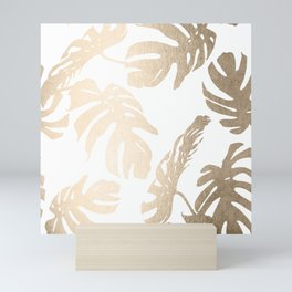 Simply Tropical Palm Leaves in White Gold Sands Mini Art Print